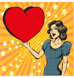 Pop art of happy woman in love vector