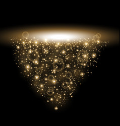 Rays of light with sparkles golden color vector