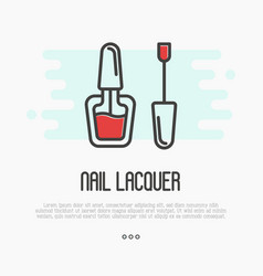 Red nail lacquer icon for logo of manicure salon vector
