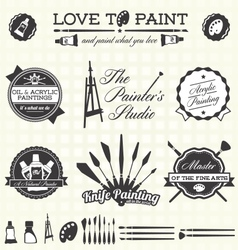 Retro Artist and Painter Labels and Icons vector image vector image