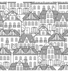 Seamless pattern with houses and trees vector image vector image