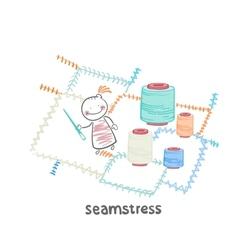 seamstress sewing colored threads huge colorful vector image
