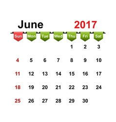 Simple calendar 2017 year june month vector