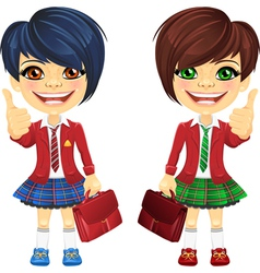 Smiling brunette cute schoolgirls vector image