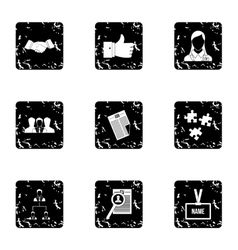 Staffing agency icons set grunge style vector