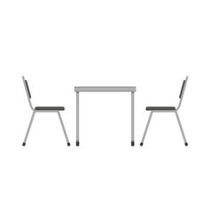 Table and chair restaurant furniture side view vector