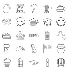 tea tincture icons set outline style vector image vector image