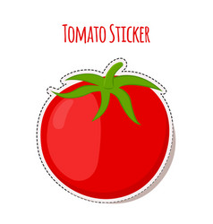 Tomato sticker made in cartoon flat style vector