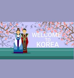 Travel to south korea banner happy korean coupe vector