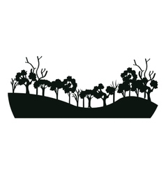 Trees forest field icon vector