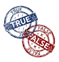 True blue and false red grunge round vintage vector
