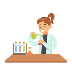 Girl chemist experimenting kid doing chemistry vector