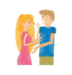 Drawing beauty couple happy vector