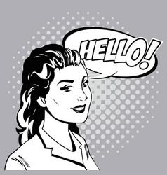 woman talk comic pop art vector image