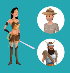 blue poster with indian warrior costume and icons vector image