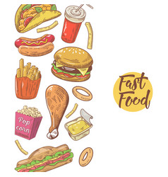 Fast food hand drawn menu design with burger vector