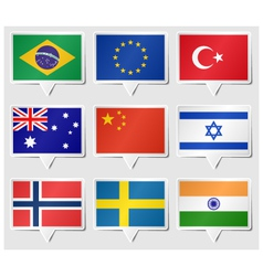 Set of flags as speech rectangle stickers vector