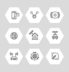 Media and communication ways icons line art style vector