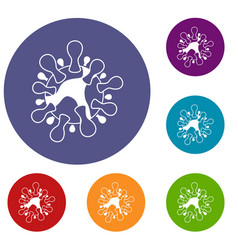 aids virus icons set vector image