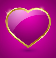 Purple and golden heart vector