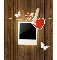 photo and red heart for Valentines day vector image