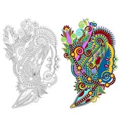 original hand draw line art ornate flower design vector image