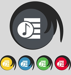 Audio mp3 file icon sign symbol on five colored vector