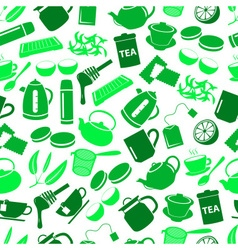 Tea theme green simple icons seamless pattern vector