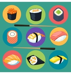 Asia food icon set with sushi rolls isolated vector