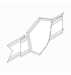 Shield with ribbon icon isometric 3d style vector