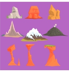 Rock and mountain design set vector