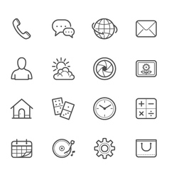 Main Icons for Mobile Phone and Application vector image