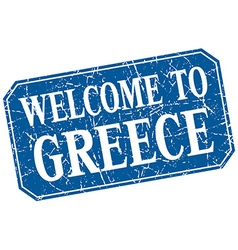 Welcome to greece blue square grunge stamp vector