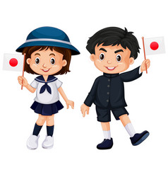Boy and girl holding japan flag vector