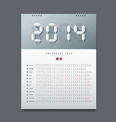 Calendar 2014 number paper digital design vector