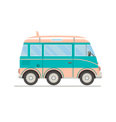 Cartoon transportbus with surfboard vector