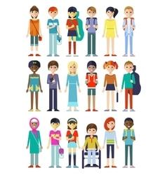 Children figure characters set vector