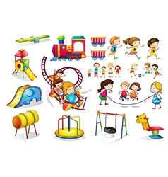 Children playing and playground set vector image vector image