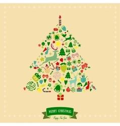 Christmas tree shape design Merry card vector image