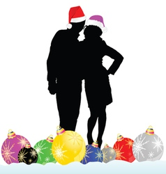 couple with decoration ball vector image vector image