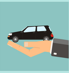 Hand holding black car buying or vector