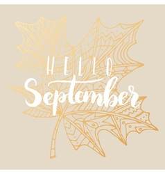 Hello september card vector image vector image