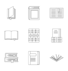 Library icons set outline style vector image
