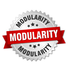 Modularity round isolated silver badge vector