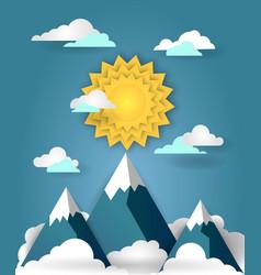 Mountain landscape paper art banner vector