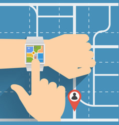 Navigation with smart watch vector