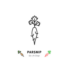 Parsnip icon vegetables logo thin line art design vector