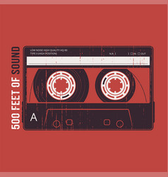 Retro design with a cassette tape t-shirt and vector