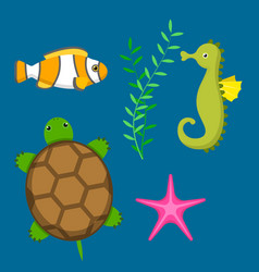 set aquatic funny sea animals underwater creatures vector image vector image
