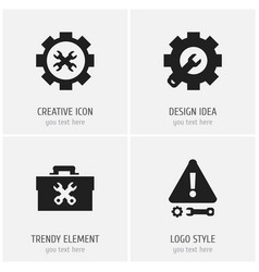 set of 4 editable service icons includes symbols vector image